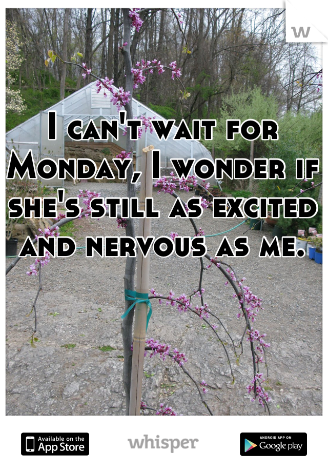 I can't wait for Monday, I wonder if she's still as excited and nervous as me.