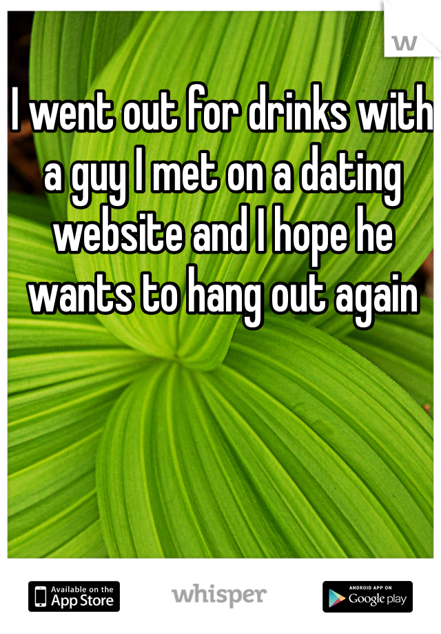 I went out for drinks with a guy I met on a dating website and I hope he wants to hang out again