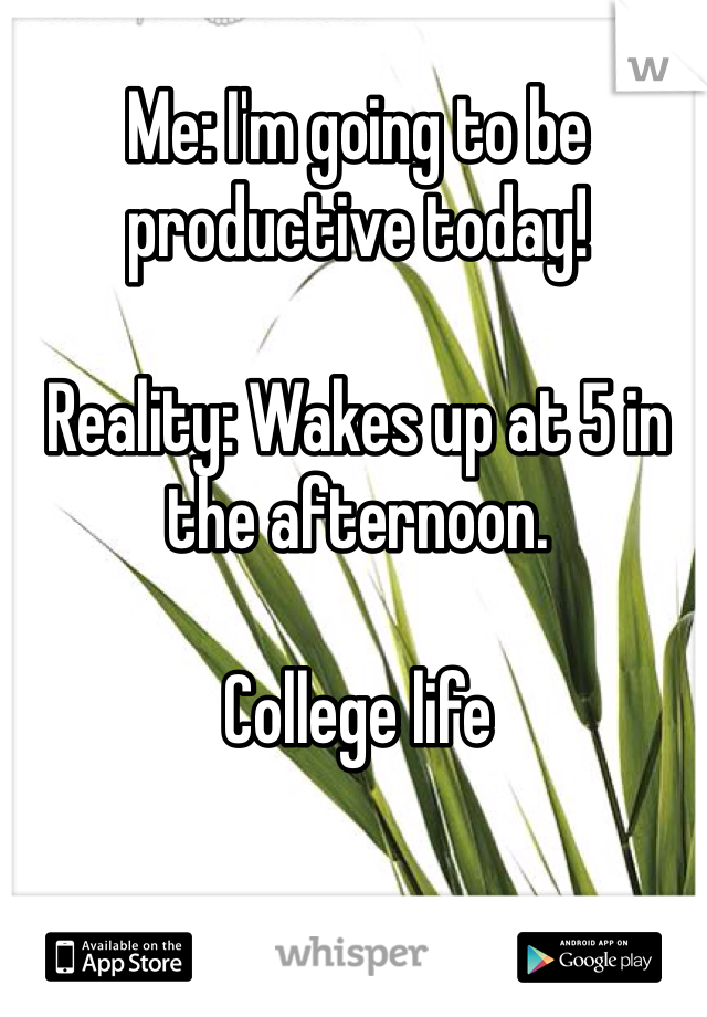 Me: I'm going to be productive today!   Reality: Wakes up at 5 in the afternoon.   College life