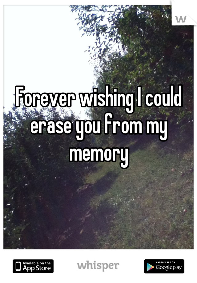 Forever wishing I could erase you from my memory