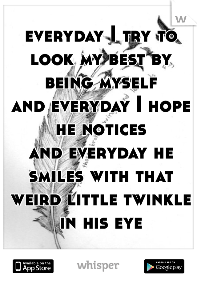 everyday I try to look my best by being myself  and everyday I hope he notices and everyday he smiles with that weird little twinkle in his eye