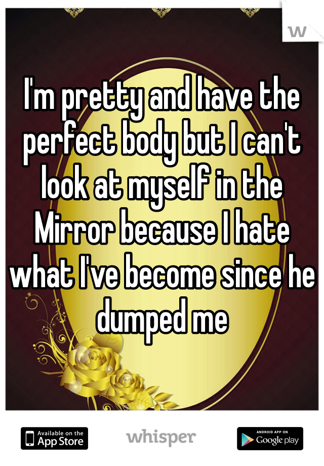 I'm pretty and have the perfect body but I can't look at myself in the Mirror because I hate what I've become since he dumped me