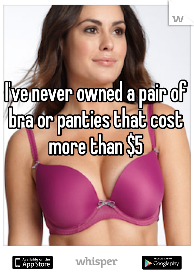 I've never owned a pair of bra or panties that cost more than $5