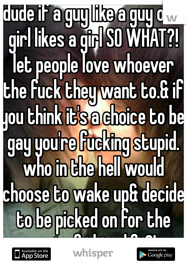 dude if a guy like a guy or a girl likes a girl SO WHAT?! let people love whoever the fuck they want to.& if you think it's a choice to be gay you're fucking stupid. who in the hell would choose to wake up& decide to be picked on for the rest of thier life?!