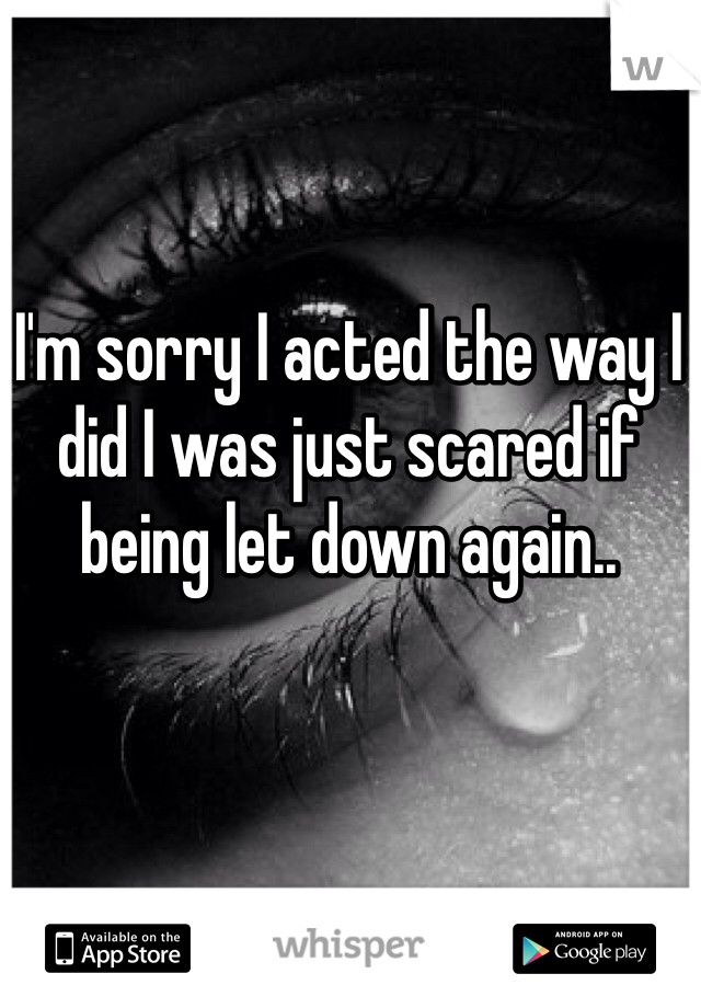 I'm sorry I acted the way I did I was just scared if being let down again..