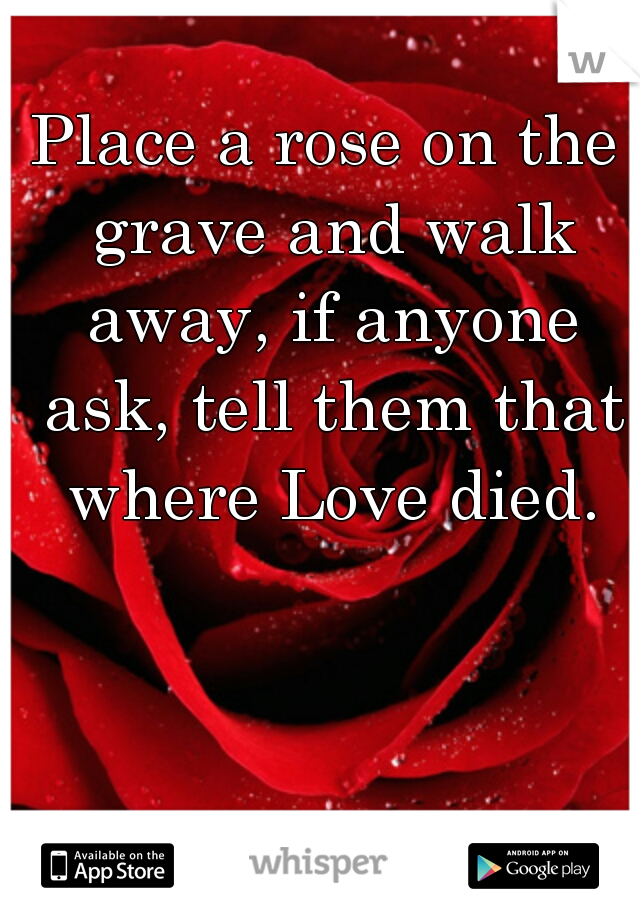 Place a rose on the grave and walk away, if anyone ask, tell them that where Love died.