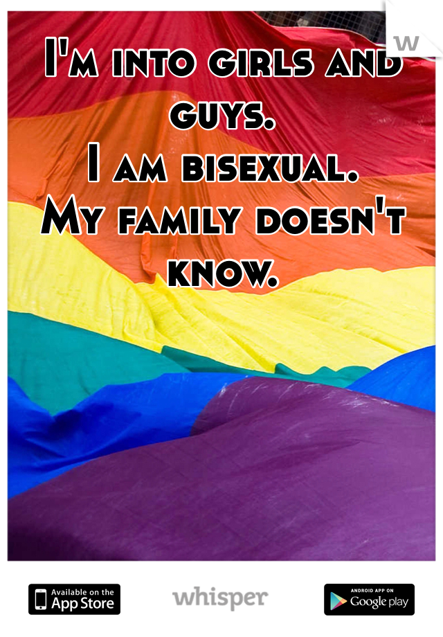 I'm into girls and guys. I am bisexual. My family doesn't know.