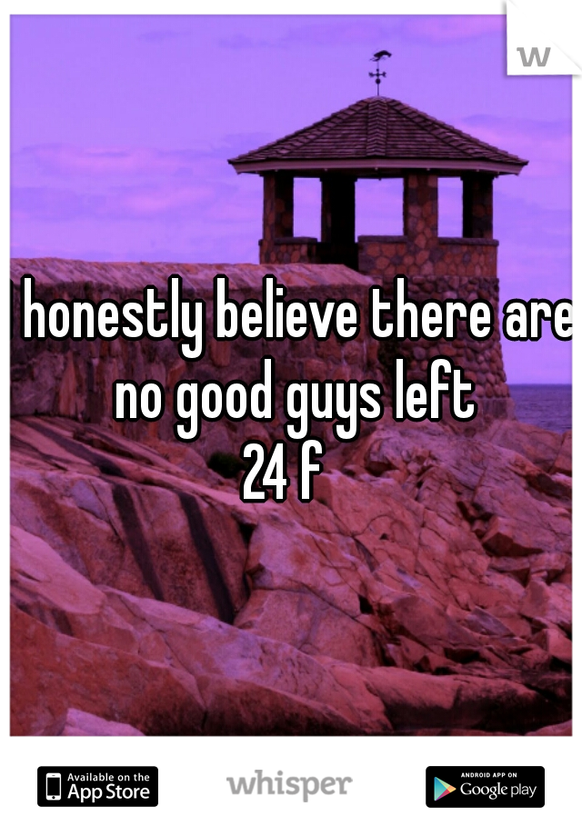 I honestly believe there are no good guys left   24 f