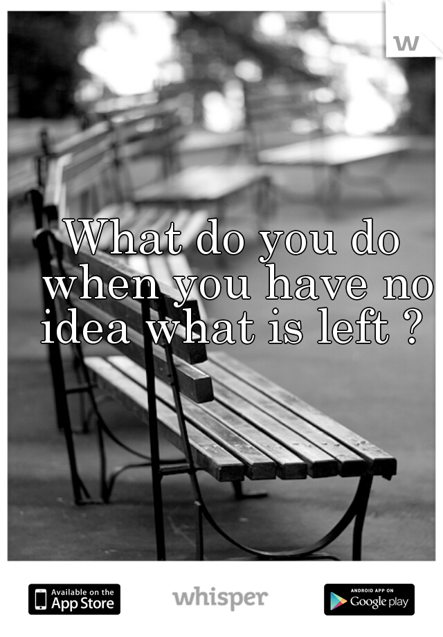 What do you do when you have no idea what is left ?