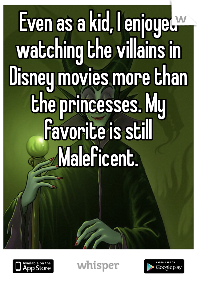Even as a kid, I enjoyed watching the villains in Disney movies more than the princesses. My favorite is still Maleficent.