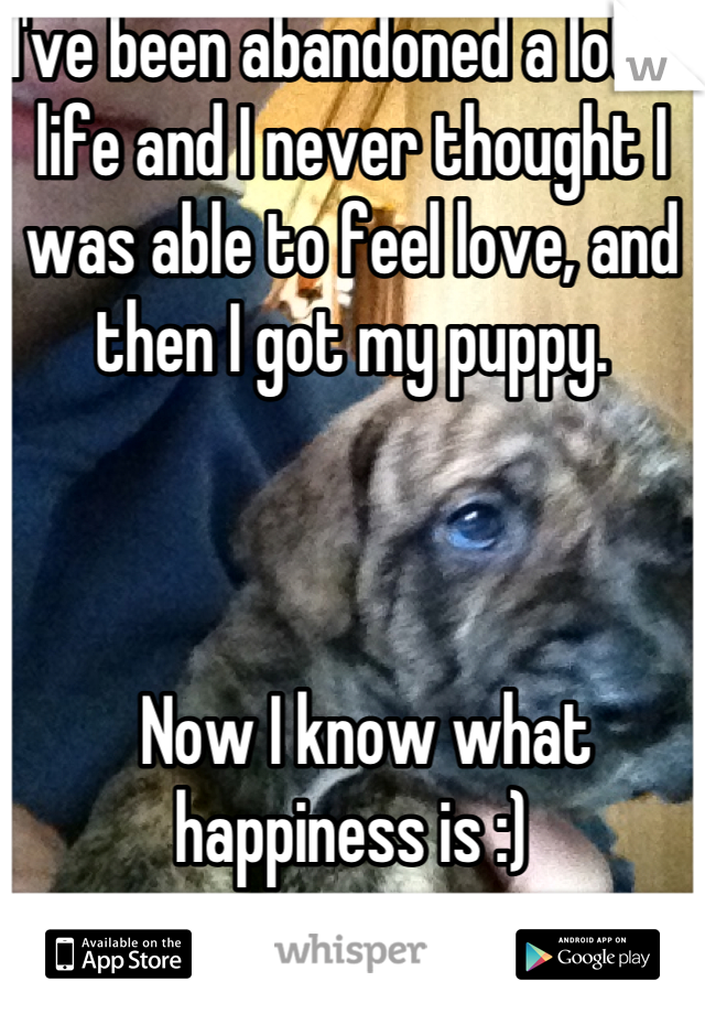 I've been abandoned a lot in life and I never thought I was able to feel love, and then I got my puppy.      Now I know what happiness is :)