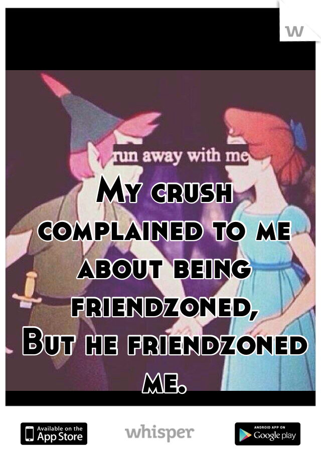 My crush complained to me about being friendzoned,  But he friendzoned me.