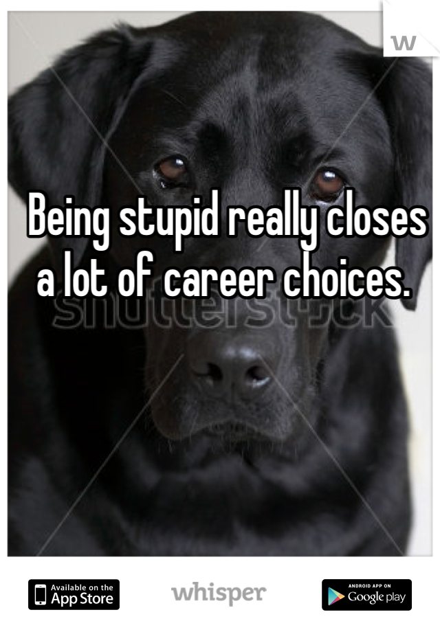 Being stupid really closes a lot of career choices.