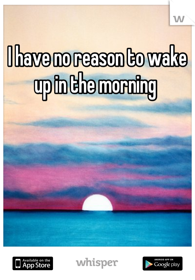 I have no reason to wake up in the morning
