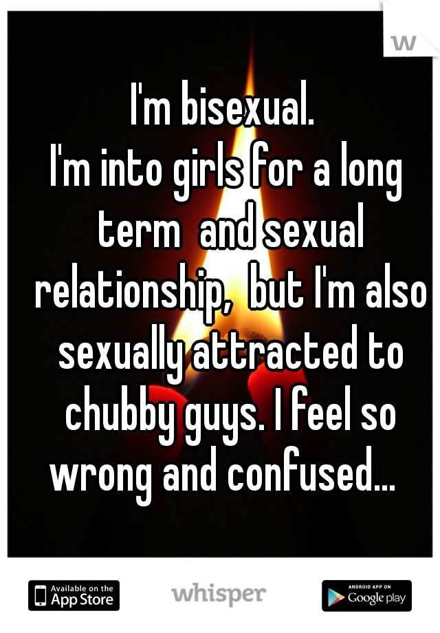 I'm bisexual.  I'm into girls for a long term  and sexual relationship,  but I'm also sexually attracted to chubby guys. I feel so wrong and confused...