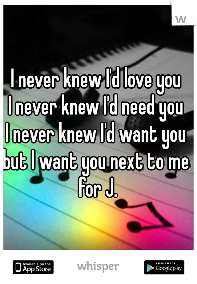 I never knew I'd love you  I never knew I'd need you  I never knew I'd want you  but I want you next to me  for J.