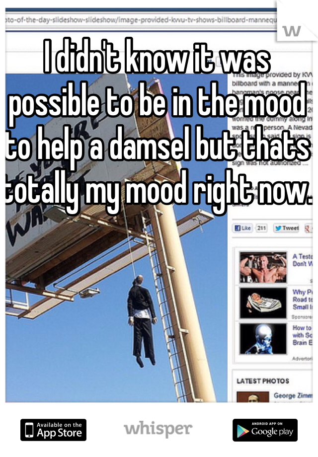 I didn't know it was possible to be in the mood to help a damsel but thats totally my mood right now.