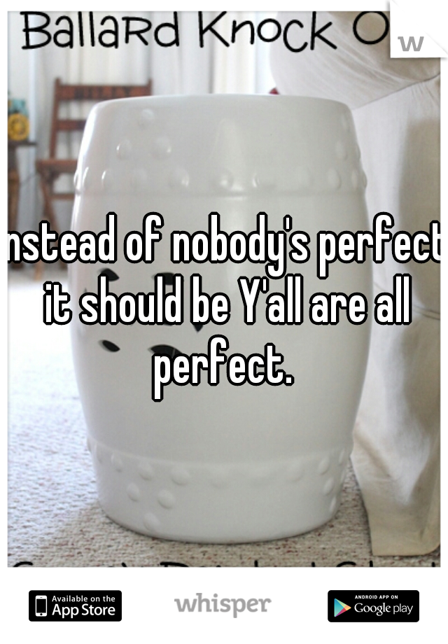 instead of nobody's perfect it should be Y'all are all perfect.