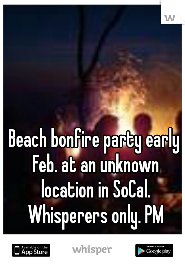Beach bonfire party early Feb. at an unknown location in SoCal. Whisperers only. PM