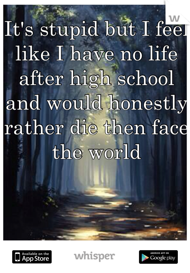 It's stupid but I feel like I have no life after high school and would honestly rather die then face the world