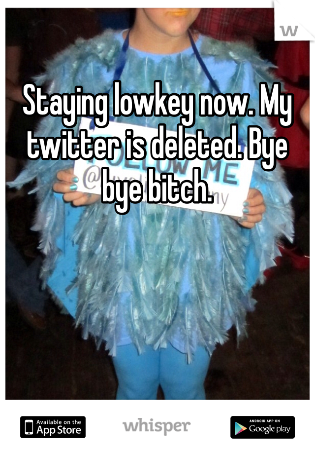 Staying lowkey now. My twitter is deleted. Bye bye bitch.