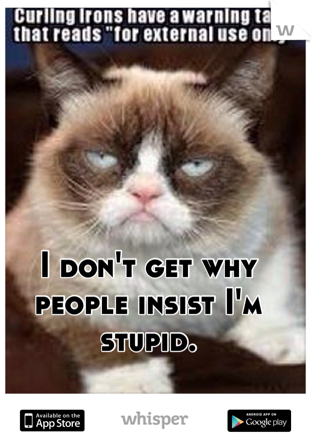 I don't get why people insist I'm stupid.