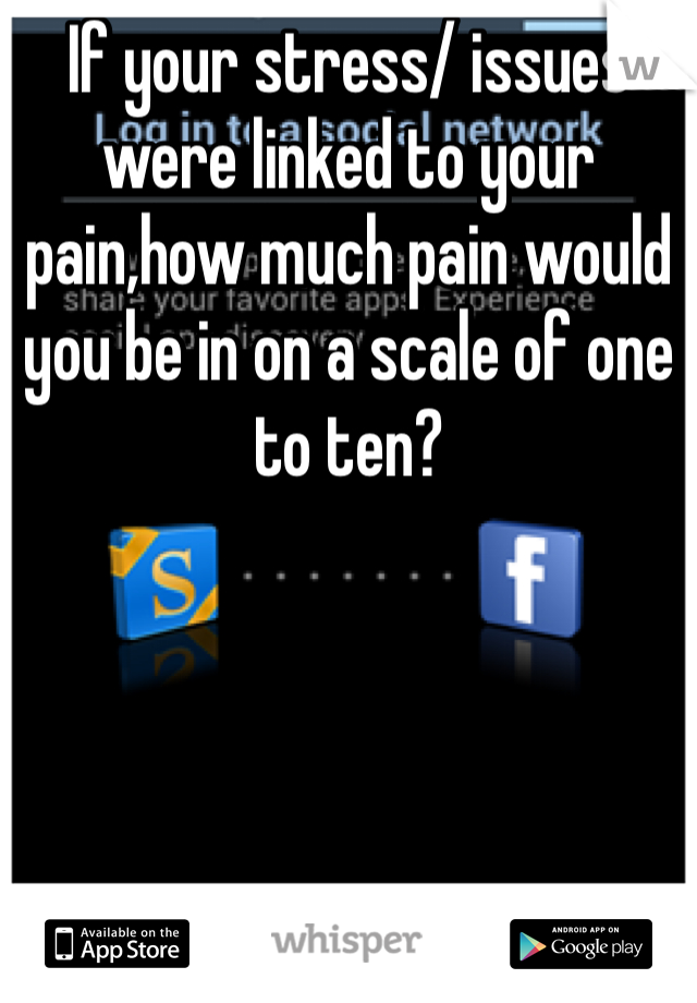 If your stress/ issues were linked to your pain,how much pain would you be in on a scale of one to ten?