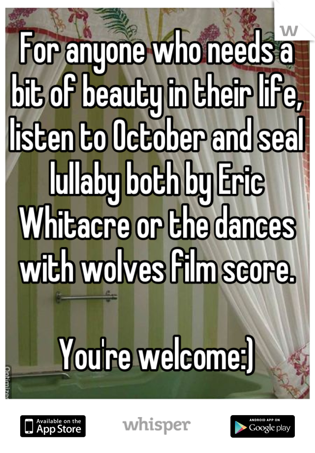For anyone who needs a bit of beauty in their life, listen to October and seal lullaby both by Eric Whitacre or the dances with wolves film score.   You're welcome:)
