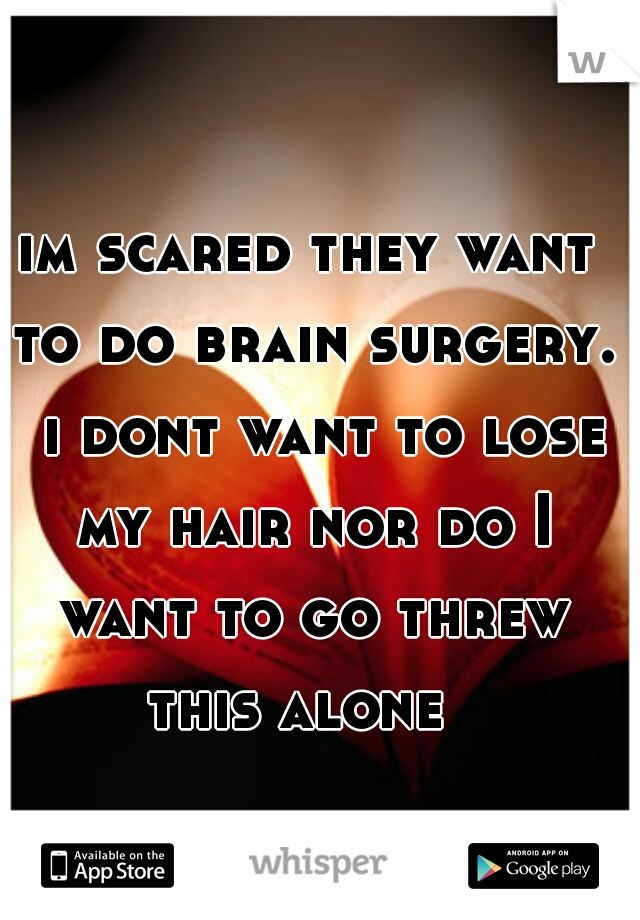 im scared they want to do brain surgery.  i dont want to lose my hair nor do I want to go threw this alone