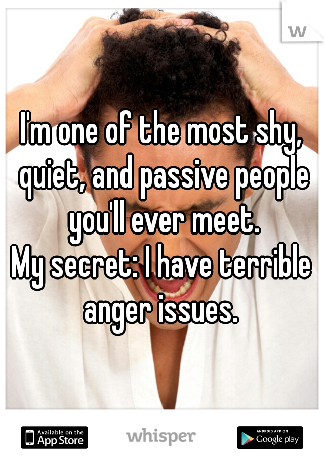I'm one of the most shy, quiet, and passive people you'll ever meet.   My secret: I have terrible anger issues.