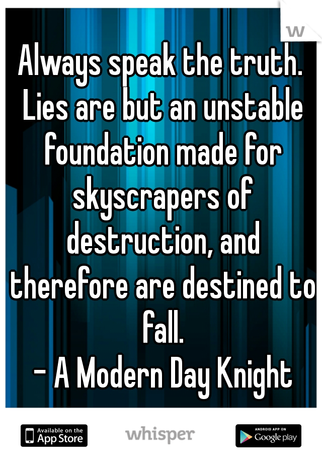 Always speak the truth. Lies are but an unstable foundation made for skyscrapers of destruction, and therefore are destined to fall.  - A Modern Day Knight
