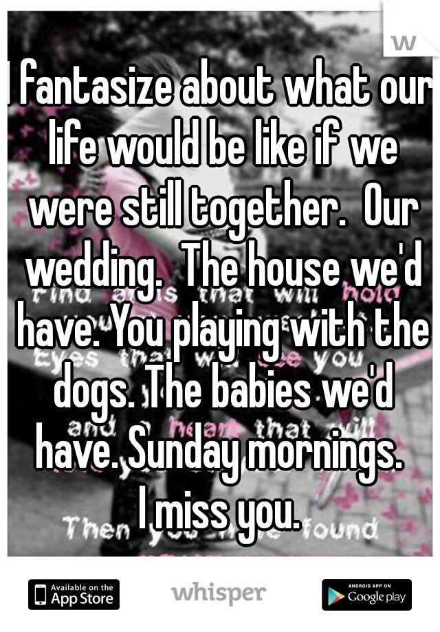 I fantasize about what our life would be like if we were still together.  Our wedding.  The house we'd have. You playing with the dogs. The babies we'd have. Sunday mornings.  I miss you.