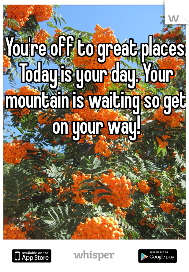 You're off to great places. Today is your day. Your mountain is waiting so get on your way!