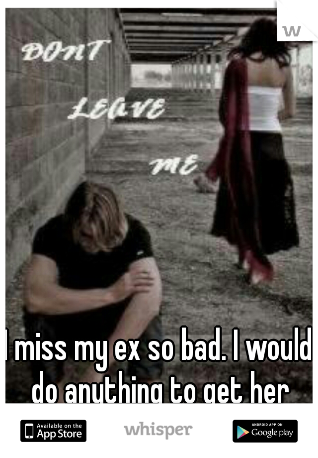 I miss my ex so bad. I would do anything to get her back.