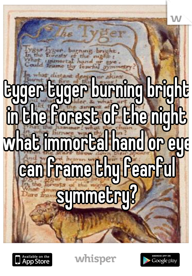 tyger tyger burning bright in the forest of the night what immortal hand or eye can frame thy fearful symmetry?