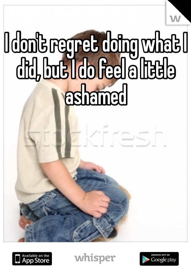 I don't regret doing what I did, but I do feel a little ashamed