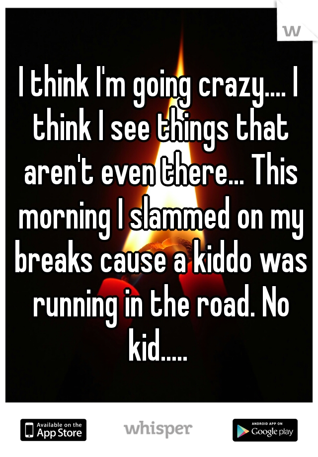 I think I'm going crazy.... I think I see things that aren't even there... This morning I slammed on my breaks cause a kiddo was running in the road. No kid.....