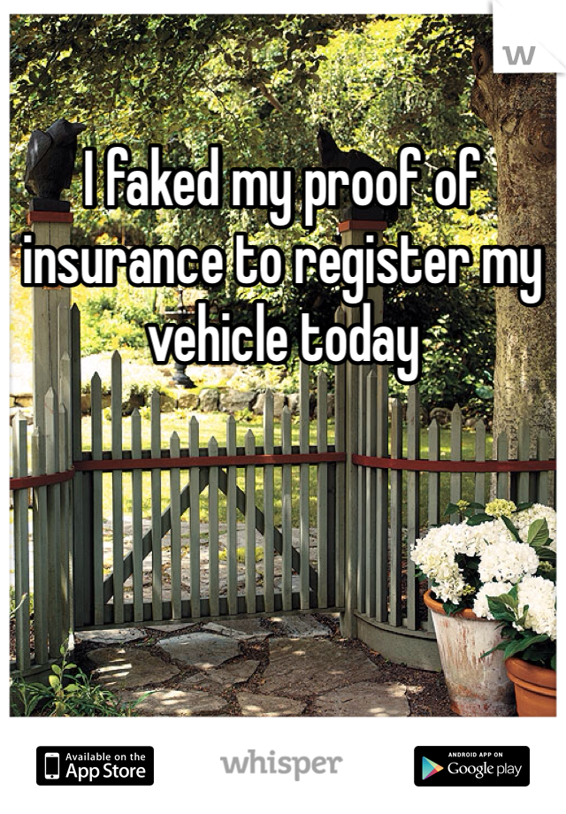 I faked my proof of insurance to register my vehicle today
