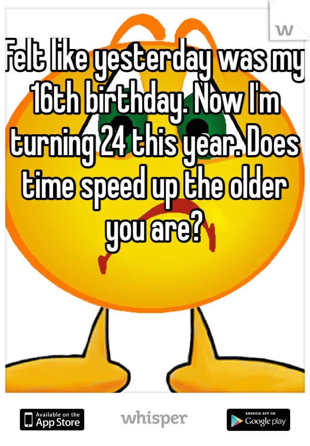 Felt like yesterday was my 16th birthday. Now I'm turning 24 this year. Does time speed up the older you are?