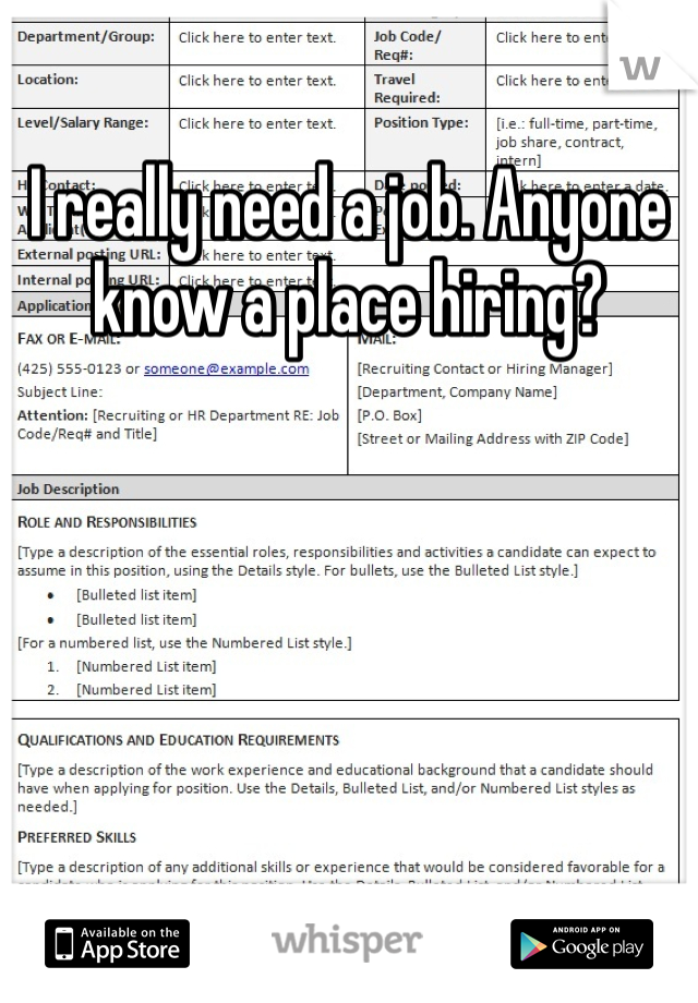 I really need a job. Anyone know a place hiring?