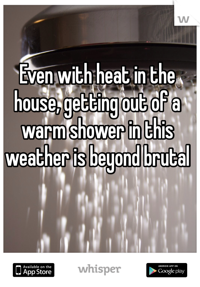 Even with heat in the house, getting out of a warm shower in this weather is beyond brutal