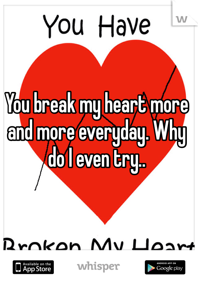 You break my heart more and more everyday. Why do I even try..