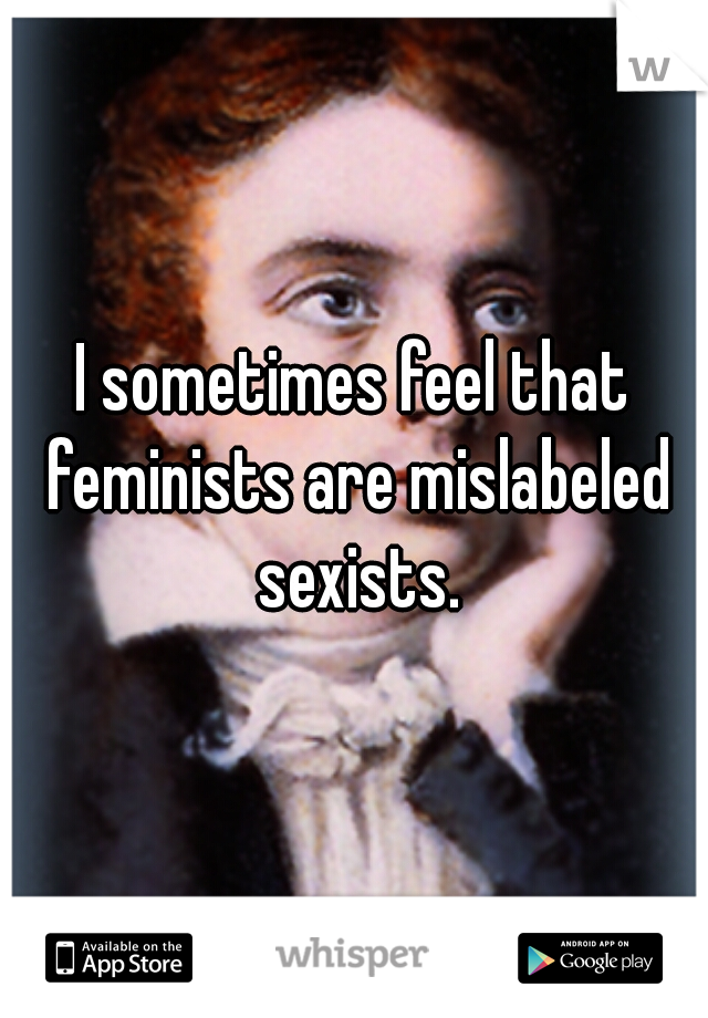I sometimes feel that feminists are mislabeled sexists.