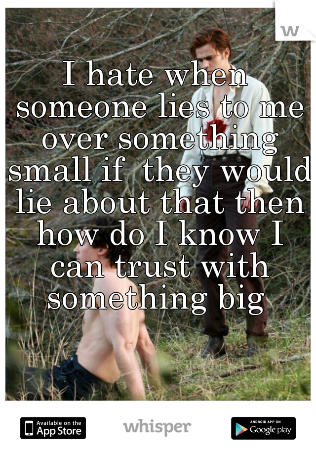 I hate when someone lies to me over something small if  they would lie about that then how do I know I can trust with something big
