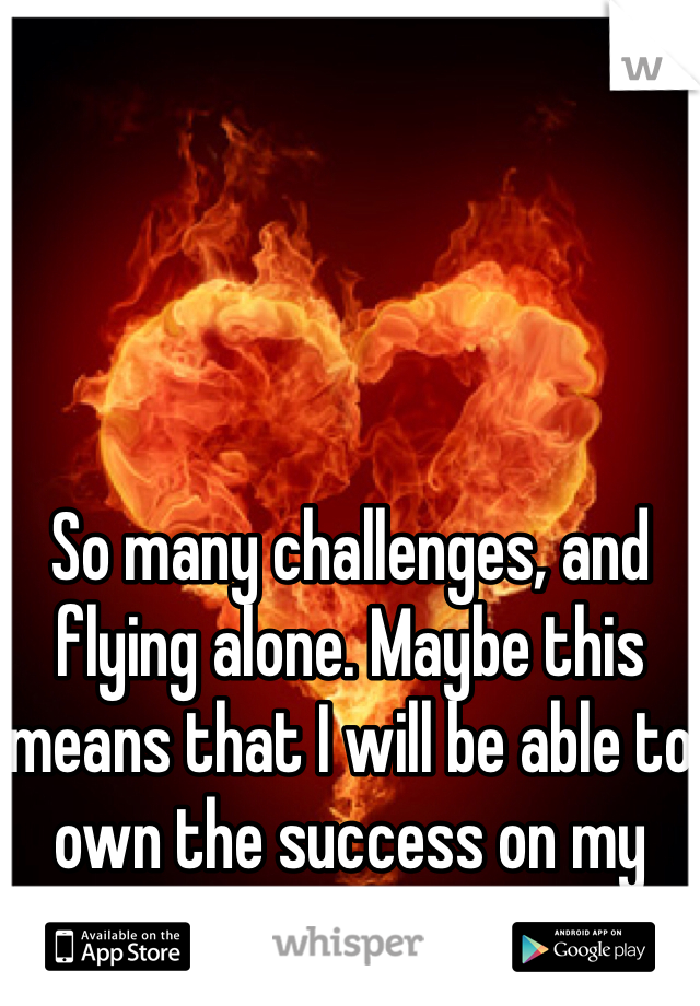So many challenges, and flying alone. Maybe this means that I will be able to own the success on my own as well.