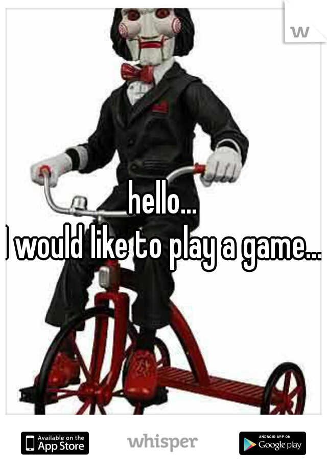 hello...  I would like to play a game...