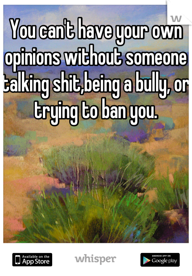 You can't have your own opinions without someone talking shit,being a bully, or trying to ban you.