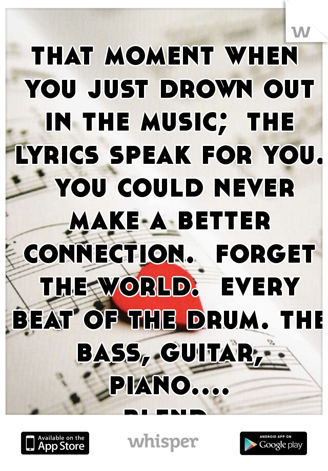 that moment when you just drown out in the music;  the lyrics speak for you.  you could never make a better connection.  forget the world.  every beat of the drum. the bass, guitar, piano.... blend.
