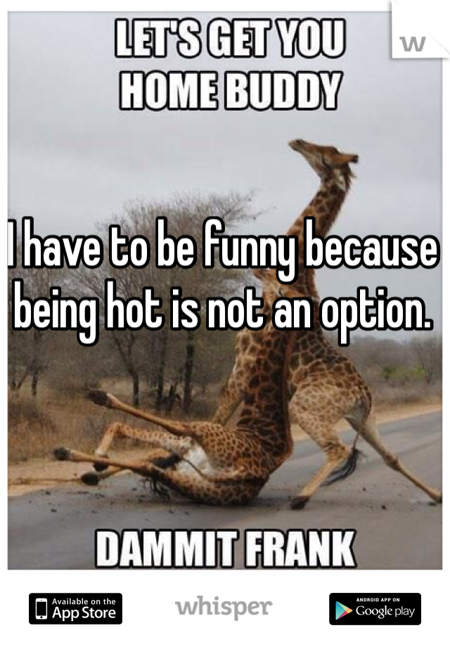 I have to be funny because being hot is not an option.