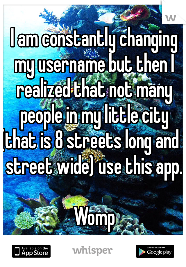I am constantly changing my username but then I realized that not many people in my little city (that is 8 streets long and 1 street wide) use this app.   Womp